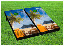 Cornhole Boards Beanbag Toss Game Palm Tree Vacation w Bags Set