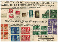 1937 Rome Italy Giant cover Front to Czechoslovakia Embassy Diplomatic Mail