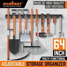 64 Inch Garage Tool Organizer Wall Mount Hooks Adjustable Storage Holders Garden