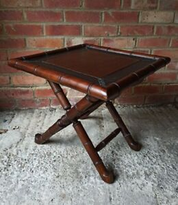 Faux Bamboo Solid Dark Oak Foldable Coffee Table With Part Leather Top Vintage
