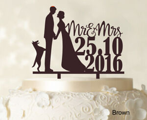 Personalized Mr And Mrs Wedding Cake Topper Dog  Custom-15T