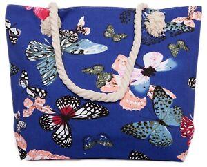 CAPRIUM Strandtasche mit Schmetterling Muster, Schultertasche, Shopper, Damen