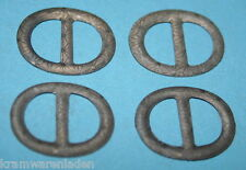 4 uralte ovale, geprägte Blechschnallen für Puppenschuhe, Gürtel,...