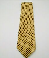 """Ferrell Reed For Hickey's Men's Neck Tie Gold w/Blue Polka Dot 59"""" x 4"""" Silk"""