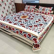 Indian Handmade Vintage Suzani Bedspread Embroidered Bed Cover Boho Bedding Sets