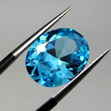 Unheated 7.38ct 10X12mm Light Blue Sapphire Cubic Zirconia Oval Loose Gemstone