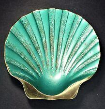 Heavy Brass Metal Sea Shell Green Dish Decor Made in Israel Beach Seashore