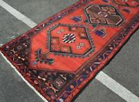 3'7 x 9'8 Nice Plush Geometric Hamadan Handmade Wool Runner Rug Oriental Carpet