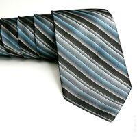 Men's Silk Tie Necktie Gray Blue Diagonal Stripe 58 x 4 PIERRE CARDIN