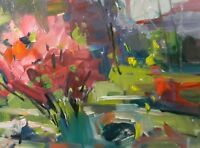 JOSE TRUJILLO Impressionism Fuchsia Tree Park Landscape OIL PAINTING Collectible