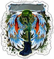 "Boots Gun Soldier War Army Military Firearm Car Bumper Vinyl Sticker Decal 4""X5"""