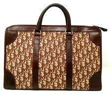 Verified Christian Dior Oblique Trotter Burgundy Canvas Book Tote Hand Bag VTG