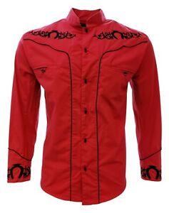 Charro Shirt Long Sleeve El Señor de los Cielos Camisa Charra Red Horseshoe
