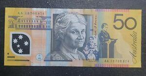 First Prefix AA 2013 Australian $50 banknote