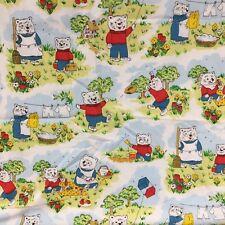 Vintage Handmade Cotton BABY BLANKET Bears Boy Mother Bear Red Yellow Blue 35x41