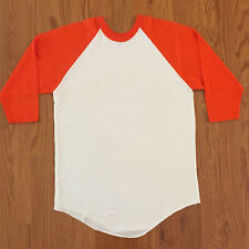 VTG 1980s Russell Athletic Blank Raglan White Orange Baseball Sleeve T-shirt XL