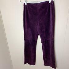 ESCADA calf suede leather purple pants size 38