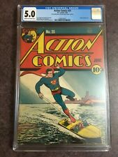 Action Comics #25 1940 CGC 5.0 Superman Universal Very Clean and Bright