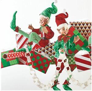 "Red & Green 24"" POSABLE ELF Christmas SANTA'S HELPERS Adorable 4002397 RAZ NEW!"
