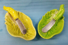 "2 Individual Relish Cheese Dish & Spreader Leaf Pattern 4"" Green Yellow France"