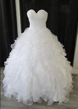New White/Ivory Organza Ruffles Wedding Bridal Dresses Custom 6-8-10-12-14-16