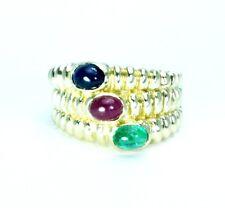 14K Solid yellow Gold, Aquamarine,peridot and diamonds Ring for women,size 7.NEW