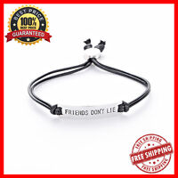 Friends Don't Lie Charm Bracelet Leather Handstamped Bangle For Men And Women