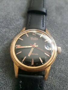 Vintage Mudu gold plated Doublematic Men's Watch 25J Rare Black Dial. Serviced.