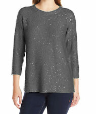 NEW(S030-20) Anne Klein Sequinned Sweater Grey Sz M $79