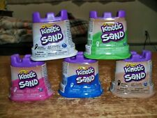 Lot Of 5 -- KINETIC SAND -- Green / Pink / Blue / Brown / White  -- 4.5 Castles