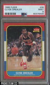 1986 Fleer Basketball #26 Clyde Drexler Trail Blazers RC Rookie HOF PSA 9 MINT