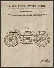 "1919 Harley Davidson patent, blue print, antique decor, Motorcycle, 14""x11"" Art"