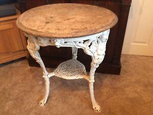 A BEAUTIFUL ORIGINAL ANTIQUE, CAST IRON PUB TABLE 1800's.