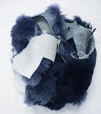 3 lb Lg Navy Blue Real Sheepskin Craft Scraps Sew Hat Slipper Insoles Pet Pads