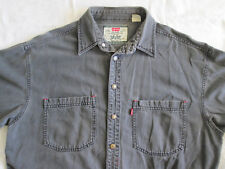 Distressed LEVI'S Denim Work Shirt Medium Faded Black with Metal Buttons Red Tab