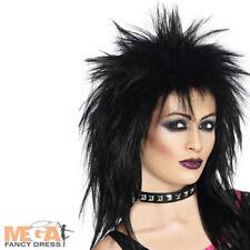 Black Spikey Punk Wig Rock Star Diva 80s Fancy Dress Costume 1980s Ladies Wig