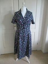 Vintage Style Blue floral Tea  Dress -  Size 14