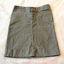 Athleta Velvet Skirt Sz 6 T Gray 720944 Snap Drawstring Khakina Straight Fitted