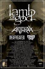 LAMB OF GOD / ANTHRAX / DEAFHEAVEN / POWER TRIP 2016 U.S.A. CONCERT TOUR POSTER