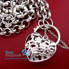 18k white gold filled lady filigree heart padlock solid belcher chain Necklace
