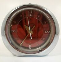 Vintage Alarm Clock Red Shiny Wind Up Diamond Steel Works, Excellent Condition