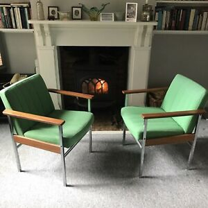 Antocks Lairn pair of 1970s lounge chairs in Chrome, Rosewood, and green wool