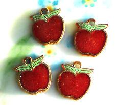 #980K Vintage Apple Charms Enamel Guilloche Fruit Drops Dangles Red Farm Food