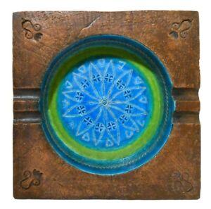 ALDO LONDI BITOSSI (ITALY) VINT RIMINI BLUE/LIME/SEPIA SGRAFFITO DEC ART POTTERY