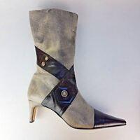 Sandra Vera by Nicole Womens Leather Boots Gray Black UK Size 8