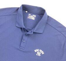 New York Yankees Under Armour Men's Polo Shirt Loose Fit Heat Gear Blue • XL