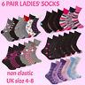 6 Pairs Ladies Womens Non Elastic Loose Top Socks Grip Diabetic Floral Roses New