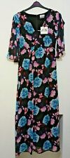 Wolf and Whistle black and pink floral maxi dress size 12-26 rrp £70 ref M9