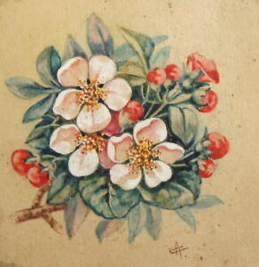 Vintage floral gouache painting signed