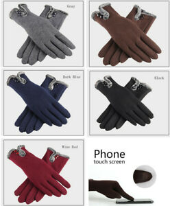 Ladies Winter Thermal Gloves Touch Screen Fleece Thick Warm Comfy Soft Fur Lined